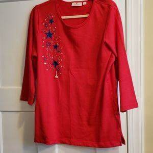 Fireworks and stars 3/4 sleeve shirt